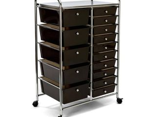 Seville Classics 15 Drawer Steel Organizer Wheeled Cart Black