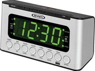 JENSEN AM FM Digital Dual Alarm Clock Radio with lED Display  Wave Sensor  Aux in  JCR 231