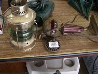 brass and green glass lamp   lamp