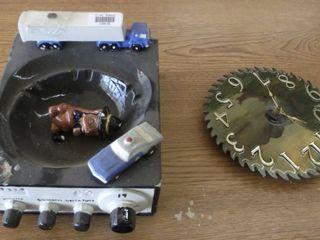 CB ash tray   saw blade shaped clock