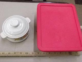 glass baking dish w lid   crock w lid