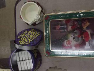 Joe camel racing tin   Santa tin and mug