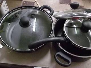pots pans and lids   set