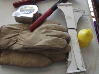 heavy work gloves   25  tape measure   riveter