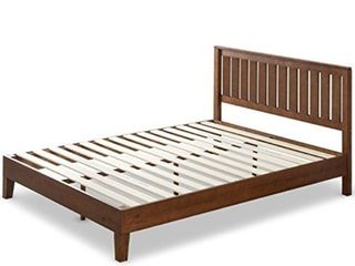 Zinus 12 Inch Deluxe Solid Wood Platform Bed with Headboard   No Box Spring Needed   Wood Slat Support   Antique Espresso Finish  Queen
