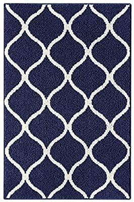 Maples Rugs Rebecca Contemporary Kitchen Rugs Non Skid Accent Area Carpet  Made in USA  2 6 x 3 10  Navy Blue White