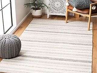 Safavieh Striped Kilim Collection STK501A Hand Woven Cotton Area Rug  5  x 8  Ivory Grey