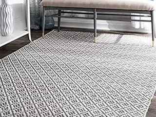nulOOM Natalie Diamond Trellis Area Rug  5  x 8  Grey