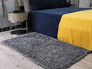Ophanie Ultra Soft Fluffy Area Rugs for Bedroom  luxury Shag Rug Faux Fur Non Slip Floor Carpet for living Room  Kids Room  Baby Room  Girls Room  and Nursery   Modern Home Decor  3x5 Feet Grey