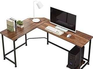 VECElO Modern l Shaped Corner Computer Desk with CPU Stand PC laptop Study Writing Table Workstation for Home Office Wood   Metal  Dark Walnut Black leg