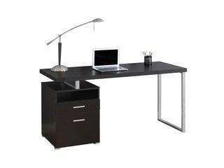 Monarch Computer Desk 60 l   Cappuccino   Silver Metal