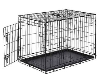 AmazonBasics Single Door Folding Metal Dog or Pet Crate Kennel with Tray