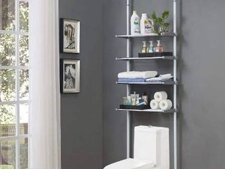 AllZONE 4 Tier Over Commode Shelving  Over The Toilet Storage Rack  No Drilling  Easy to Assemble  Height and Width Adjustable