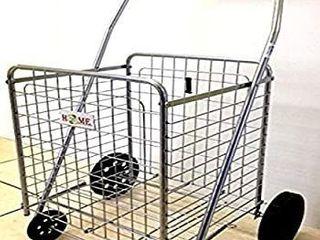 Uniware Folding Shopping Cart  Grey  Cart Size  40  x 21 5  x 24 6