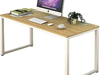 Shw Home Office 55 inch large Computer Desk White Frame W oak Top