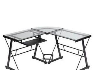 YD CD1300 Clear FDW l Shaped Glass Corner Desk