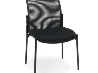 Mesh Back Upholstered Armless Side Chair Black   OFM