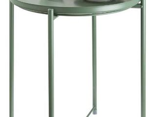 CERBIOR Tray End Table  Round Metal Tray Table Side Sofa Table Anti Rust and Waterproof Outdoor   Indoor Snack Table Accent Coffee Table  Dark Green