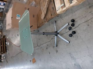 Bifma Glass top Adjustable Height table with wheels