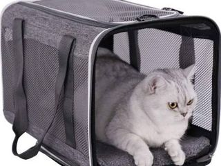 Top load Pet Carrier for large  Medium Cats  2 Kitty and Small Dogs with Comfy Bed   Easy to Get Cat in  Escape Proof  Easy Storage  Washable  Safe and Comfortable for Vet Visit and Car Ride