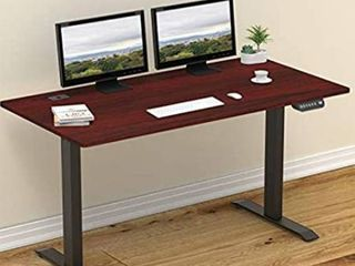 SHW 55 Inch large Electric Height Adjustable Computer Desk  55 x 28 Inches  Cherry
