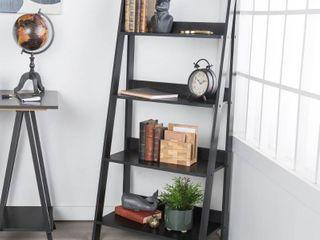Walker Edison 4 Shelf Transitional Wood ladder Bookcase in Black