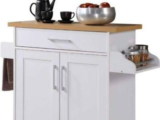 Hodedah Kitchen Island with Spice Rack  Towel Rack   Drawer  White with Beech Top