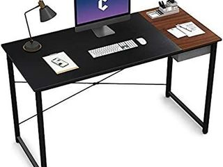 Cubiker Computer Desk 55  Home Office Writing Study laptop Table  Modern Simple Style Desk with Drawer  Black Espresso