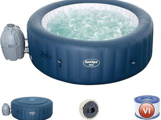 Bestway 54124E SaluSpa Milan Airjet Plus Portable Round Inflatable Hot Tub Spa with Cover   Filter Pump  Teal