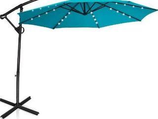 Tangkula 10 FT Patio Offset Umbrella with 360 Degree Rotation  Solar Powered lED Umbrella with Crank Handle   Cross Base  Outdoor Market Umbrella with Aluminum Pole