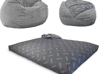 CordaRoy s Chenille Bean Bag Chair  Convertible Chair Folds from Bean Bag to Bed  As Seen on Shark Tank  Charcoal   Queen Size
