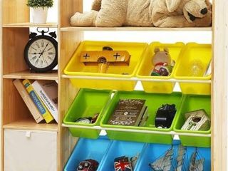 MallBest 4 Tier Kids  Toy Storage Organizer Shelf   100  Solid Wood Children s Storage Cabinet with 9 Plastic Bins and 1 Cloth Storage Box  Natural
