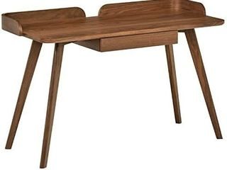 Amazon Brand a Rivet Mid Century Curved Wood Table Home Office Computer Desk  48 4 l  Walnut
