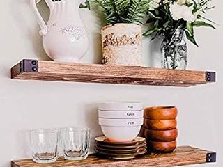 WG WIllOW   GRACE DESIGNS Floating Shelves for Wall Mounted  Modern Rustic All Wood Wall Shelves  Set of 2 for Bedroom  Bathroom  Family Room  Kitchen with Decorative Iron Corners 24 x 6 x 1 5 in