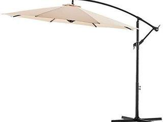 Bluu 10ft Patio Offset Umbrella Cantilever Umbrella Hanging Market Umbrella Outdoor Umbrellas with Crank   Cross Bases Beige