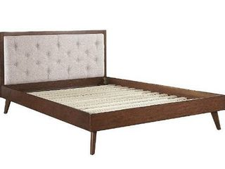linon Home Decor Products AMZN1498 linon Kinsley Mid Century Oatmeal Queen Bed Platform  Walnut Brown