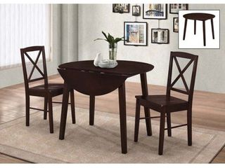 Kings Brand Furniture 3 Piece Wood Dinette Drop leaf Table   2 Chairs Dining Set  Cappuccino