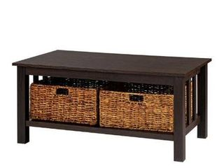 WE Furniture 40  Wood Storage Coffee Table with Totes   Espresso