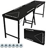 GoPong PRO 8 Foot Premium Beer Pong Table   Heavy Duty  Black  36 Inch Tall