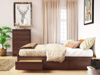 Queen Size Bed with Cherry Color Storage Frame    Not Inspected