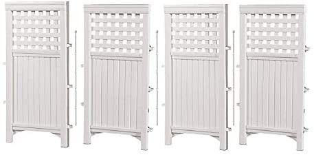 Suncast 4 Enclosure Freestanding Steel Resin Reversible Panel Outdoor Screen TRE  4 panles  pack of 1  White