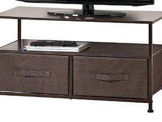 Fabric Storage TV Stand Organizer Unit   Sturdy Steel Frame  Wood Top  2 Easy Pull Fabric Bins