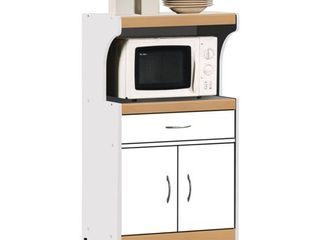 Hodedah Microwave Kitchen Cart in White   Not Inspected