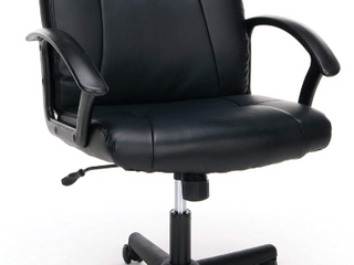 Amazon Basics Classic Puresoft PU  Padded Mid  Back Office Computer Desk Chair With Armrest  Black   Some Damage