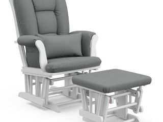 Storkcraft Tuscany White Glider and Ottoman   Gray   Not Inspected