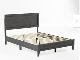 Classic Framed Wood Platform Bed   Full Size   Burnt Driftwood   Not Inspected