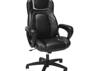 OFM Essentials Collection Racing Style SofThread leather High Back Office Chair  black white