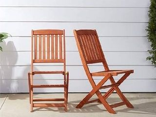 Outdoor Wood Folding Chair  Set of 2