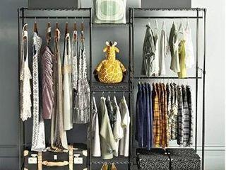 metal clothes rack with storage shelf black