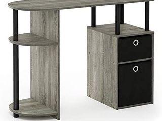 Furinno 15111 JAYA Simplistic Computer Study Desk with Bin Drawers  French Oak Grey Black